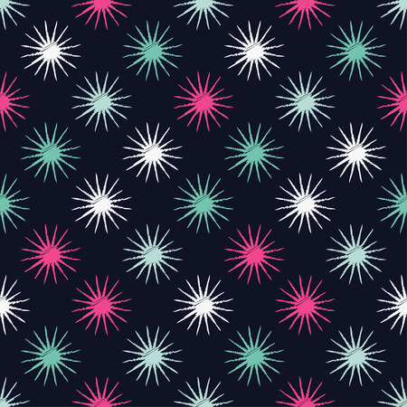 Seamless background with decorative stars. Scribble texture. Textile rapport. Illustration