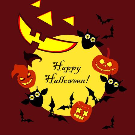 Vector background Happy Halloween. Halloween Party with pumpkins. Poster, postcard.