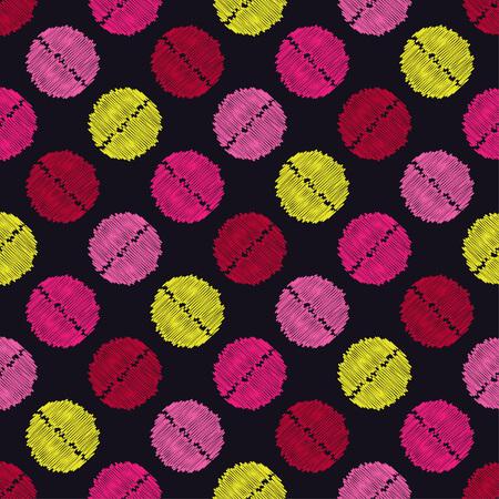 Polka dot seamless pattern. Scribble texture. Textile rapport.