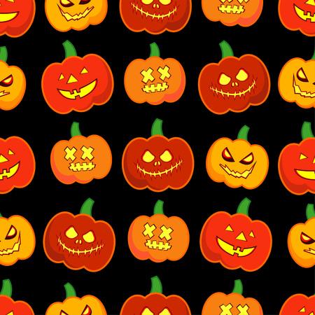 A Seamless pattern decorative pumpkin vector Happy Halloween on a black background.