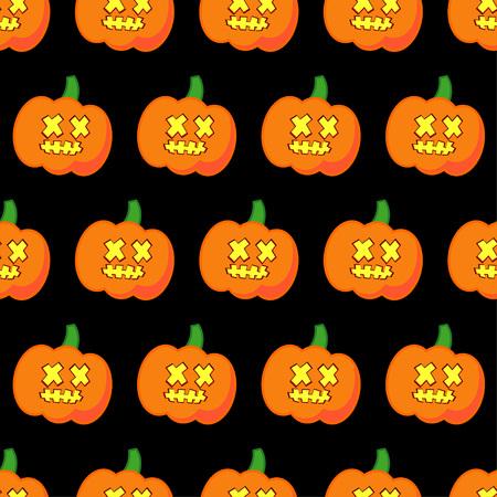 A Seamless decorative pumpkin vector Happy Halloween on a black background.