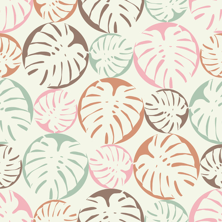 Seamless background with decorative leaves. Monstera leaves. Textile rapport.