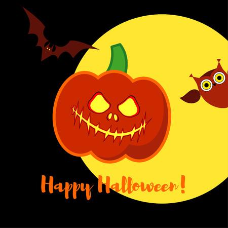 Poster Happy Halloween. Halloween pumpkins smile.