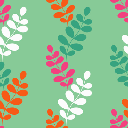 Seamless vector background with decorative branche and leaves. Pattern with plants. Textile rapport. Illustration