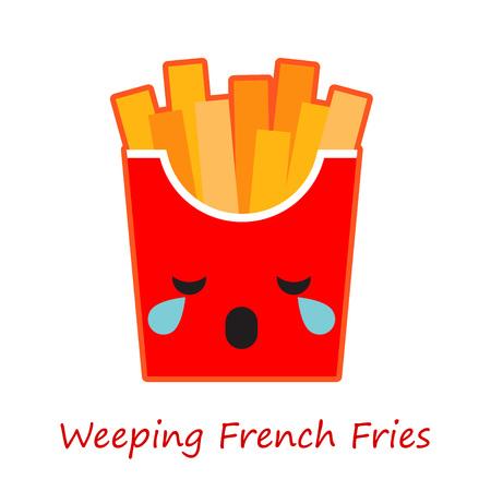 Banner French Fries Emotions. Cute cartoon. Vector illustration. Illustration