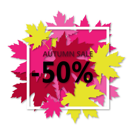 Autumn sale flyer template with lettering. Maple leaves in a white frame with shadow. Poster, card, label, banner design.