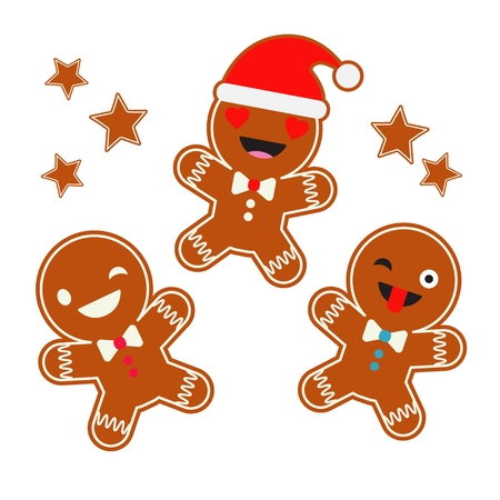Poster Christmas gingerbread on a white background. Christmas ginger man. Cute cartoon gingerbread. Illustration