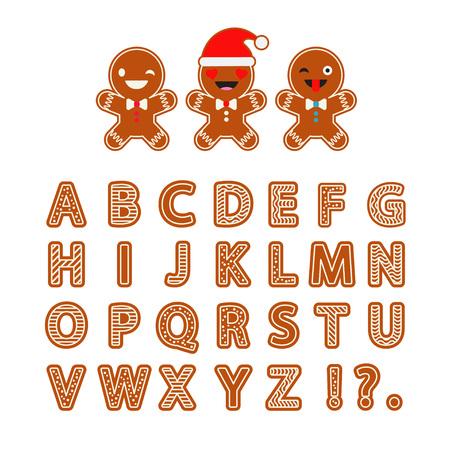 Set Gingerbread vector Alphabet. Christmas gingerbread letters with glaze. Cute cartoon Alphabet.