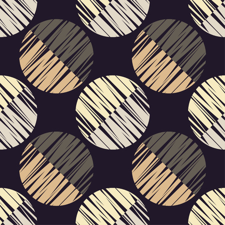 Seamless geometric pattern. Half circles background. Scribble texture. Textile rapport.