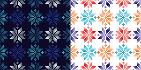 Set of 2 Seamless vector backgrounds cross stitch Norwegian snowflakes. Folk motifs. Winter pattern. Textile rapport. Illustration