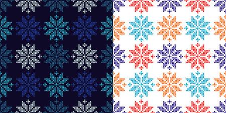 Set of 2 Seamless vector backgrounds cross stitch Norwegian snowflakes. Folk motifs. Winter pattern. Textile rapport. Иллюстрация
