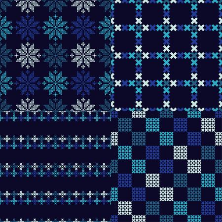 Satz von 4 nahtlosen Vektorhintergrund-Kreuzstich Norwegerschneeflockenvolkmotivwintermuster-Textil-rapport. Standard-Bild - 90439370