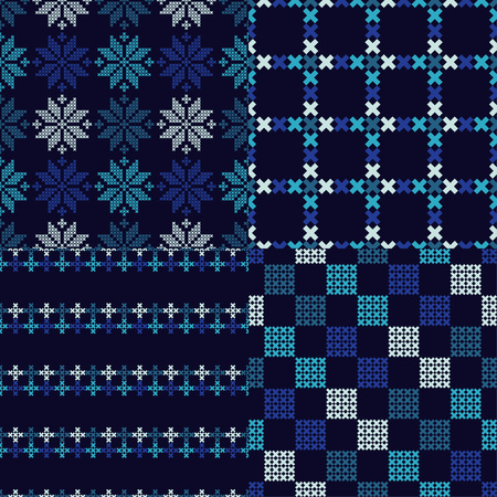 Set of 4 seamless vector backgrounds cross stitch Norwegian snowflakes folk motif winter pattern textile rapport. Illustration