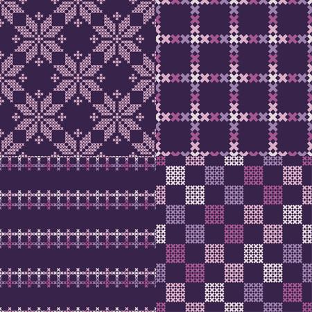 Satz von 4 nahtlosen Vektorhintergrund-Kreuzstich Norwegerschneeflockenvolkmotivwintermuster-Textil-rapport. Standard-Bild - 90439375