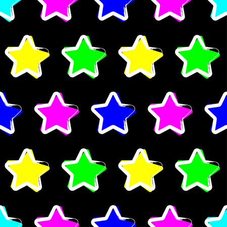 Seamless vector background with decorative stars. The stroke of the pen. Textile rapport.