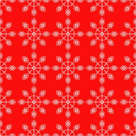 Seamless vector background cross stitch Norwegian snowflakes. Folk motifs. Winter pattern. Textile rapport.