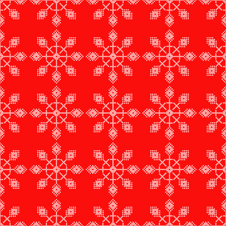 Seamless vector background cross stitch Norwegian snowflakes. Folk motifs. Winter pattern. Textile rapport.