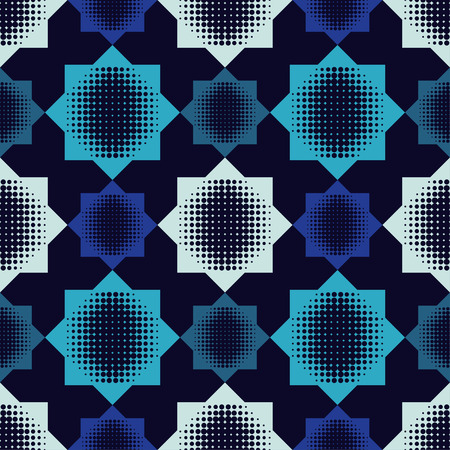 Seamless abstract geometric halftone pattern. The pattern of stars. Dots texture. Textile rapport.