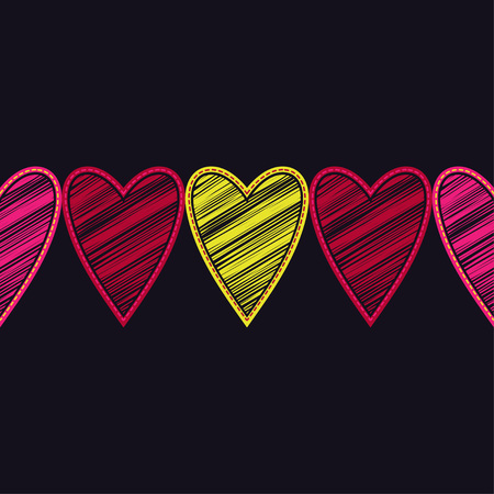 Seamless vector background with decorative hearts. Valentines day. Embroidery on fabric. Scribble texture. Textile rapport.