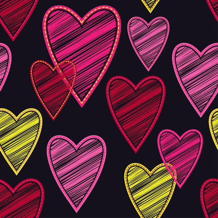 Seamless vector background with decorative hearts. Valentine's day. Embroidery on fabric. Scribble texture. Textile rapport.