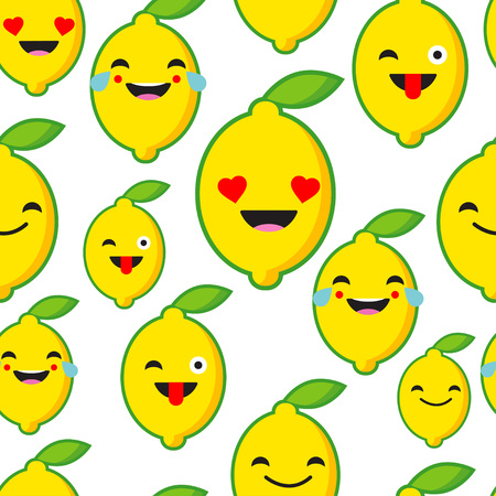 Seamless background with Emotions Lemon. Cute cartoon. Vector illustration. Textile rapport. Reklamní fotografie