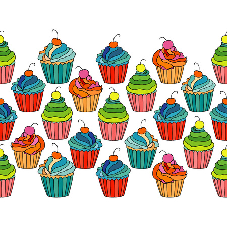 Sweet cape cakes seamless pattern on white background. Textile rapport. Illustration