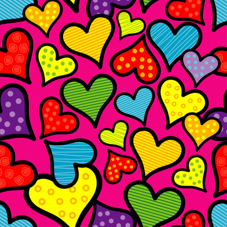Seamless background with decorative hearts. Valentines day. Handmade drawing. Textile rapport.