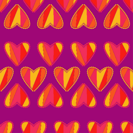 Seamless background with decorative hearts. Valentines day. Scribble texture. Textile rapport.