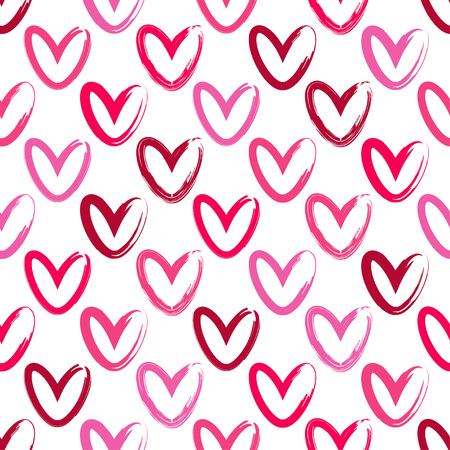Seamless background with decorative hearts. Valentines day. Ink drawing. Textile rapport.