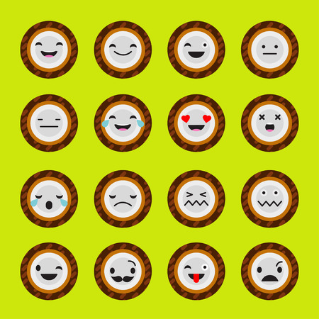 Set Emotions Coconut. Cute cartoon. Vector style smile icons.