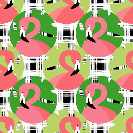 Seamless vector background with pattern of Pink Flamingos. Pattern with Palm leaves. Polka dot. Textile rapport. Ilustrace