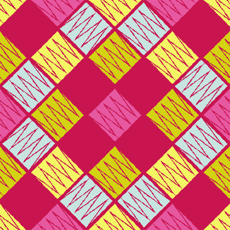 Seamless geometric pattern. The texture of the squares and crowns. Textile rapport. 向量圖像