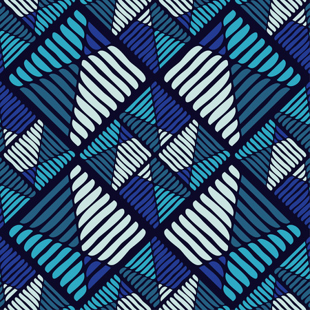 Geometric pattern with texture of stripes and squiggles. Illustration