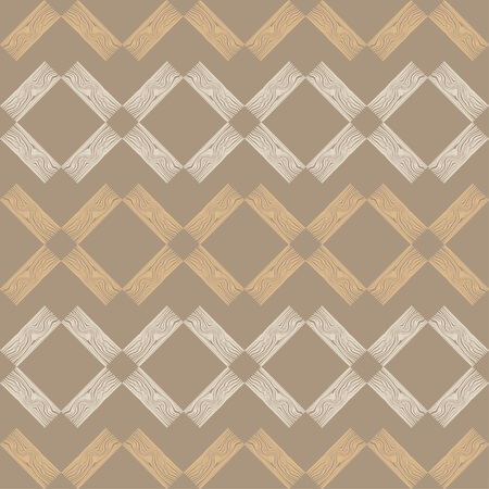 Seamless geometric pattern. Brown floor with wooden scribble texture. 向量圖像