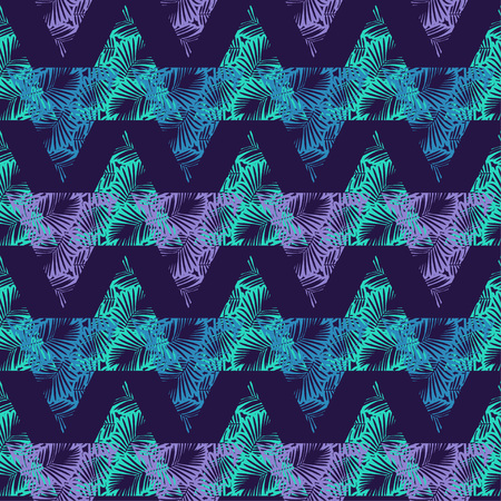 Seamless background with decorative leaves. Texture of palm leaves in triangles. Textile rapport.