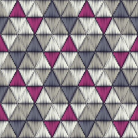 Seamless abstract geometric pattern. The texture of the triangles. Embroidery on fabric. Brushwork. Hand hatching. Scribble texture. Textile rapport.