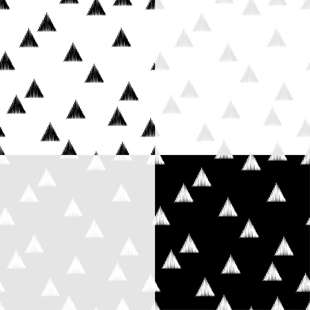 Set of 4 black and white seamless abstract geometric pattern. The texture of the triangles. Embroidery on fabric. Brushwork. Hand hatching. Scribble texture. Textile rapport.