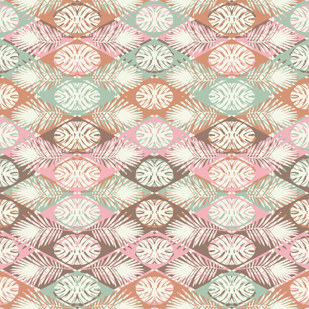 Seamless vector background with decorative leaves. The texture of the zigzag. Texture of palm leaves. Textile rapport. Illustration
