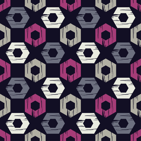 Seamless abstract geometric pattern. Hexagons texture. Brushwork. Hand hatching. Textile rapport.