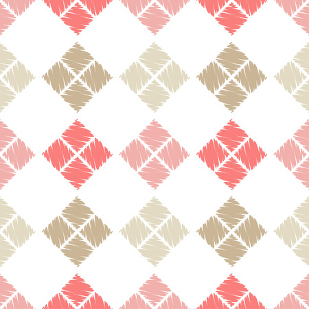 Seamless abstract geometric pattern. The texture of rhombus. Brushwork. Hand hatching. Textile rapport. 向量圖像