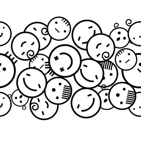Sfondo bianco senza soluzione di continuità di emozioni creative. Diverse emozioni delle persone. Modello in bianco e nero. Rapporto tessile. Vettoriali