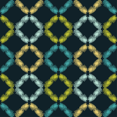 Seamless background with decorative leaves. Texture of rhombus. Texture of palm leaves. Textile rapport.