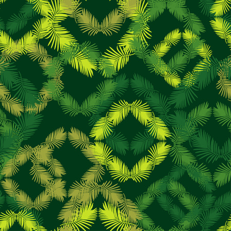 Seamless background with decorative leaves. Texture of rhombus. Texture of palm leaves. Textile rapport. Illustration