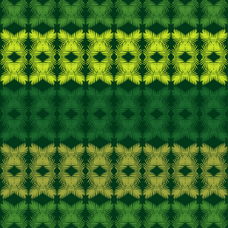 Seamless background with decorative leaves. Texture of rhombus. Texture of palm leaves. Textile rapport. 向量圖像