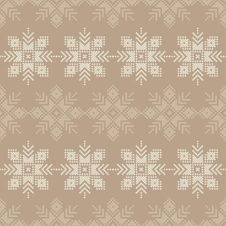 Cross stitch Norwegian snowflakes. Seamless vector background. Folk motives. Winter pattern. Textile rapport.