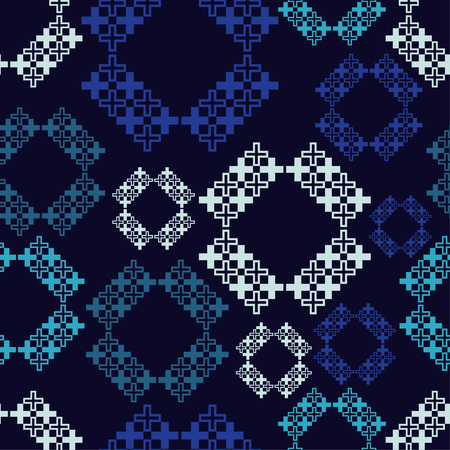 Seamless abstract geometric pattern. Mosaic texture. Cross-stitch. Textile rapport.