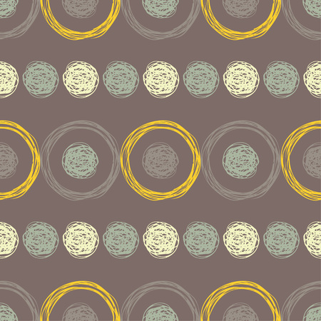 Polka dot seamless pattern. Geometric background. Brushwork. Hand hatching. Scribble texture. Theextile rapport.