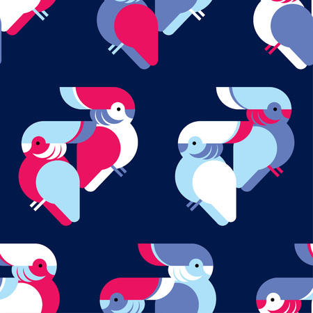 Seamless background with decorative parrots. Birds in the sky. Textile rapport.