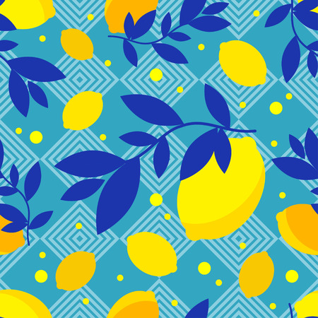Seamless pattern with decorative lemons. Cute cartoon. Summer garden. Lemon jam. Vector illustration. Textile rapport.