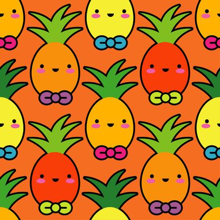 Vector seamless pattern. Kawaii background. Cartoon Pineapple. Textile rapport.